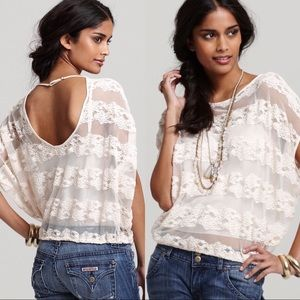 Free People Country Fair Sheer Lace Blouson Top